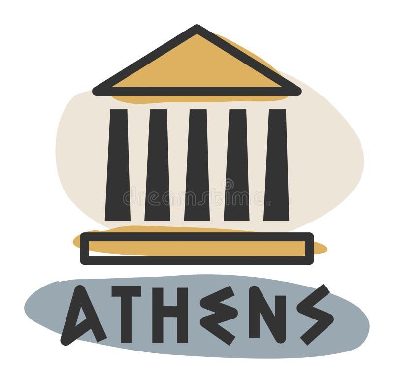 Icono abstracto de Atenas stock de ilustración