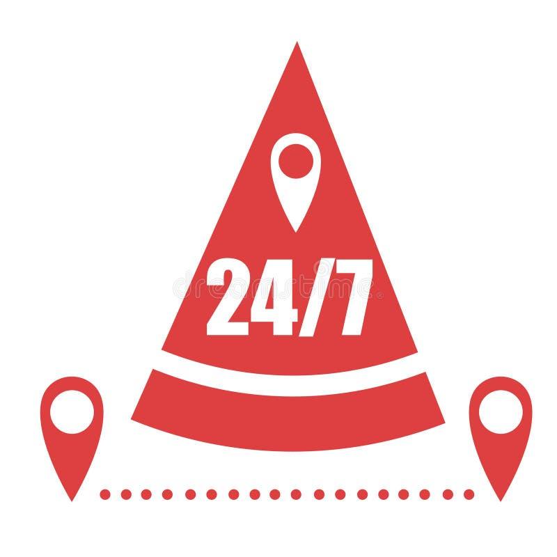 Icono abstracto de la entrega de la pizza 24 7 horas de servicio Icono plano del color rojo Ilustración del vector aislada en el  libre illustration