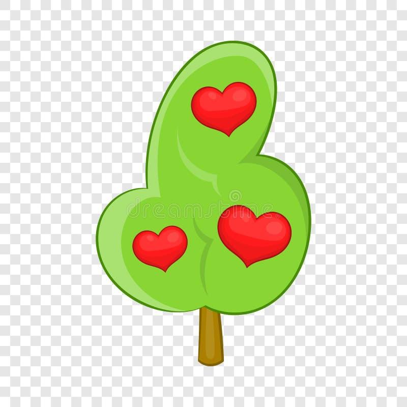 Icono abstracto del árbol del corazón, estilo de la historieta stock de ilustración