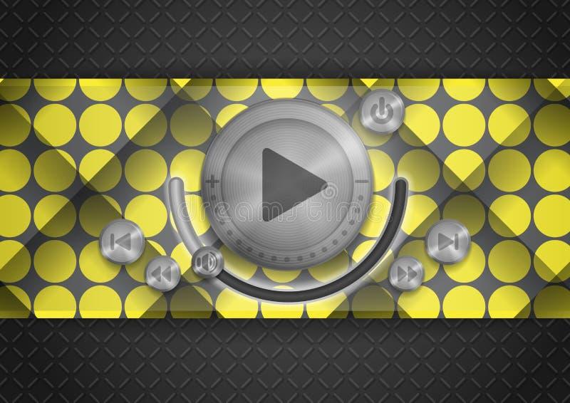 Icono abstracto del App de la tecnología con el botón de la música libre illustration
