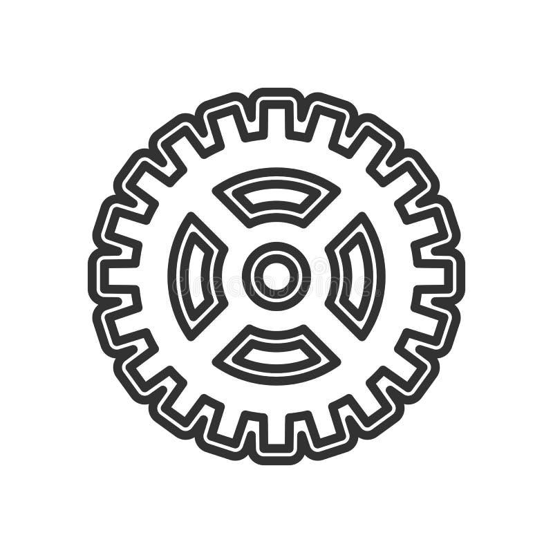 Icono abstracto del esquema de la rueda de engranaje en blanco ilustración del vector