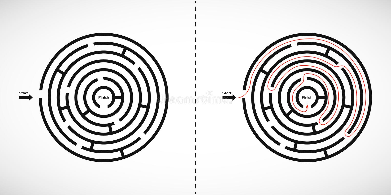 Icono abstracto del laberinto del laberinto Elemento del diseño de la forma del laberinto con una entrada y una salida Ilustració libre illustration