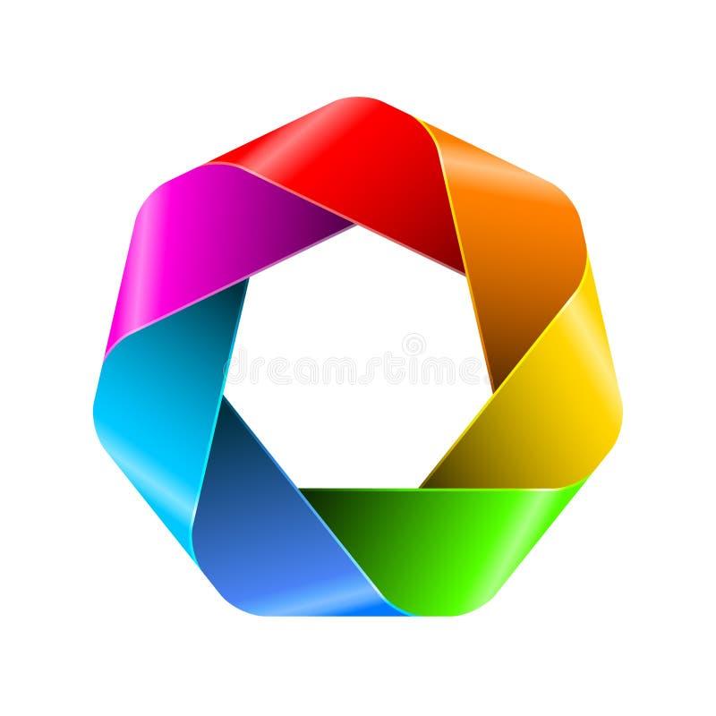Icono abstracto del polígono del arco iris ilustración del vector