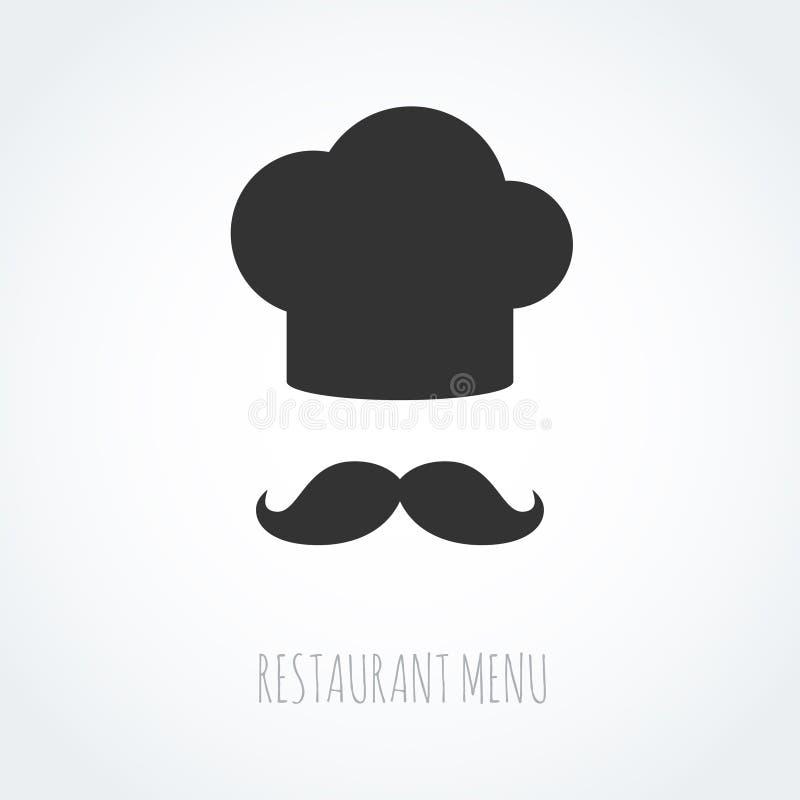 Icono abstracto del vector del sombrero y del bigote del cocinero stock de ilustración