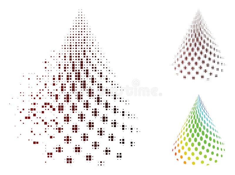 Icono abstracto punteado tono medio descompuesto del cono del pixel stock de ilustración