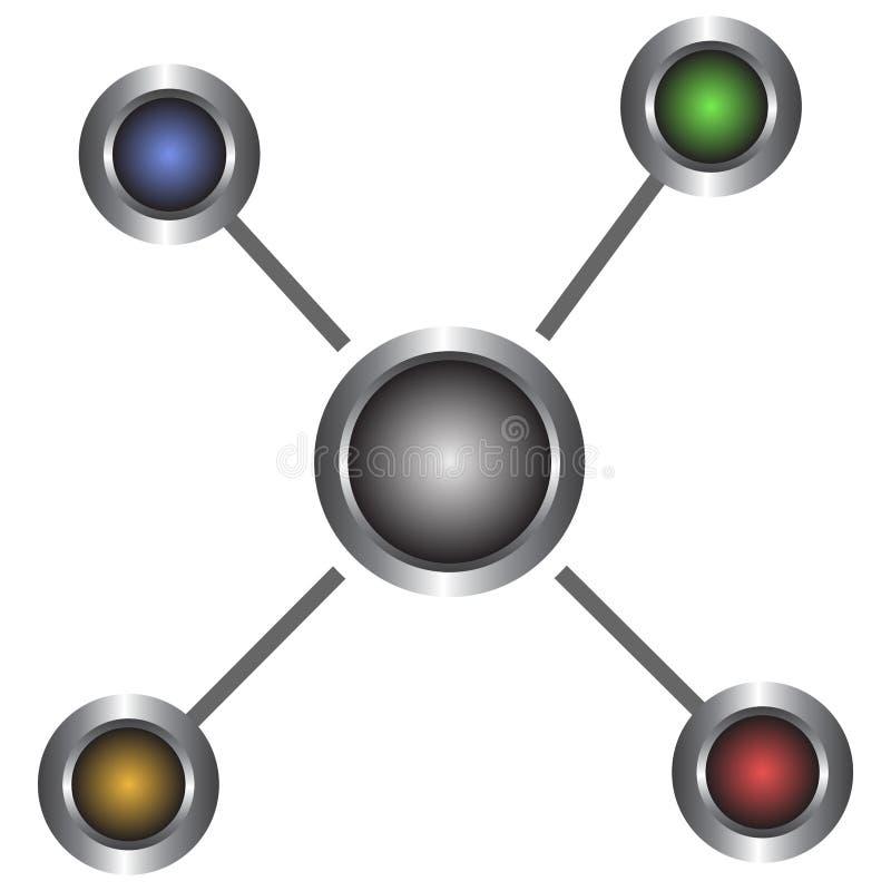 Icono abstracto simple, metálico, colorido de las conexiones Aislado en blanco ilustración del vector