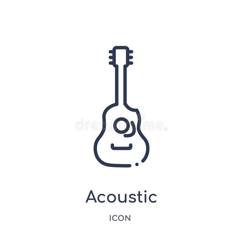 Icono acústico de la colección del esquema de la música Línea fina icono acústico aislado en el fondo blanco stock de ilustración