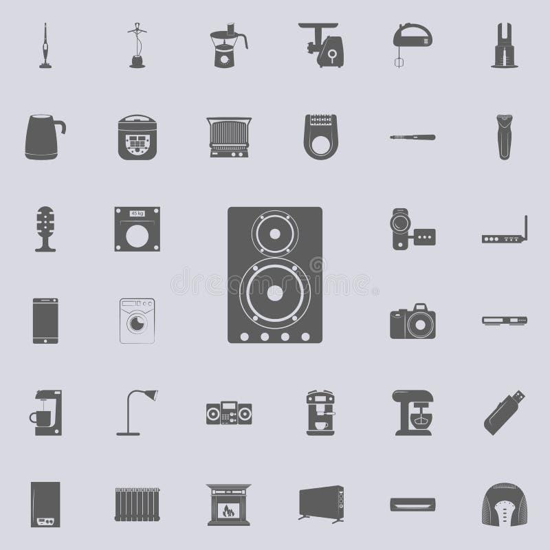 Icono acústico de los altavoces Sistema universal de los electro iconos para el web y el móvil stock de ilustración