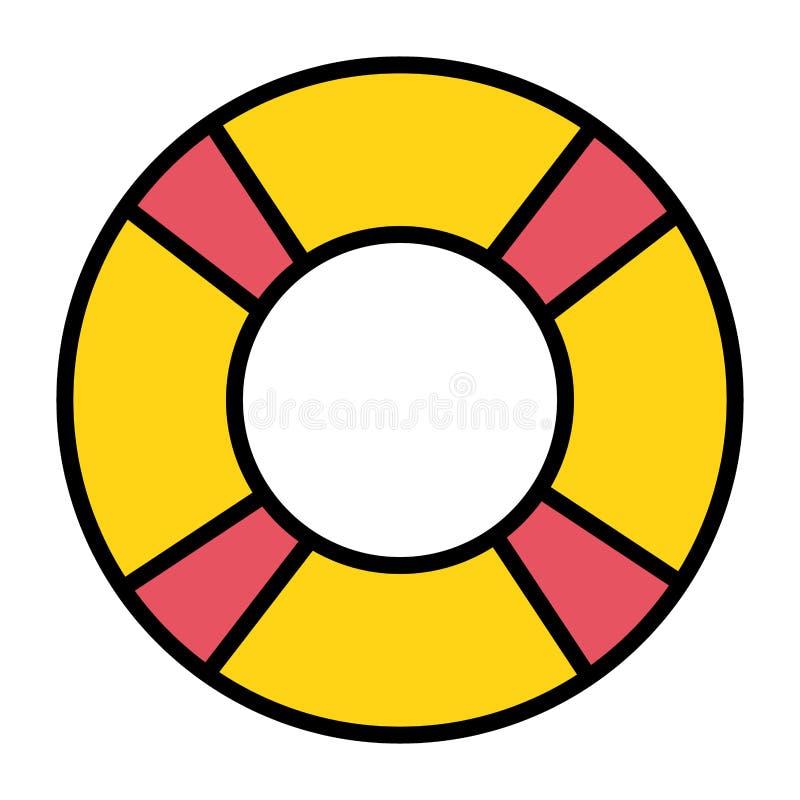 Icono accesorio del verano del salvavidas del flotador ilustración del vector