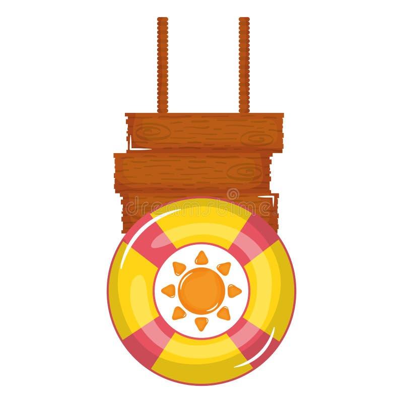 Icono accesorio del verano del salvavidas del flotador stock de ilustración