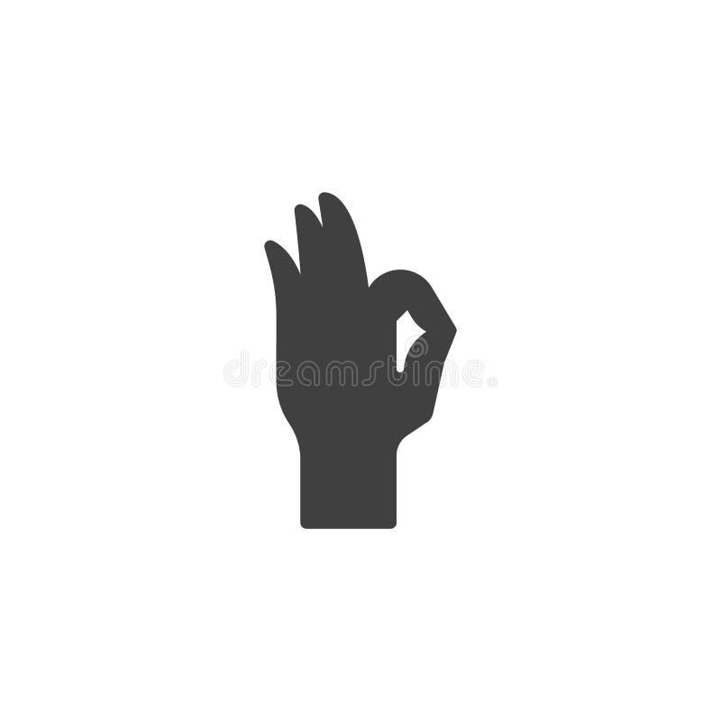 Icono aceptable del vector del gesto de mano ilustración del vector