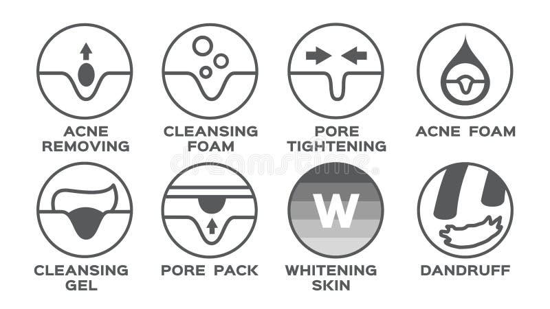 Icono/acné de la piel que quita el poro que aprieta el paquete de limpiamiento del gel de la espuma que blanquea la caspa ilustración del vector
