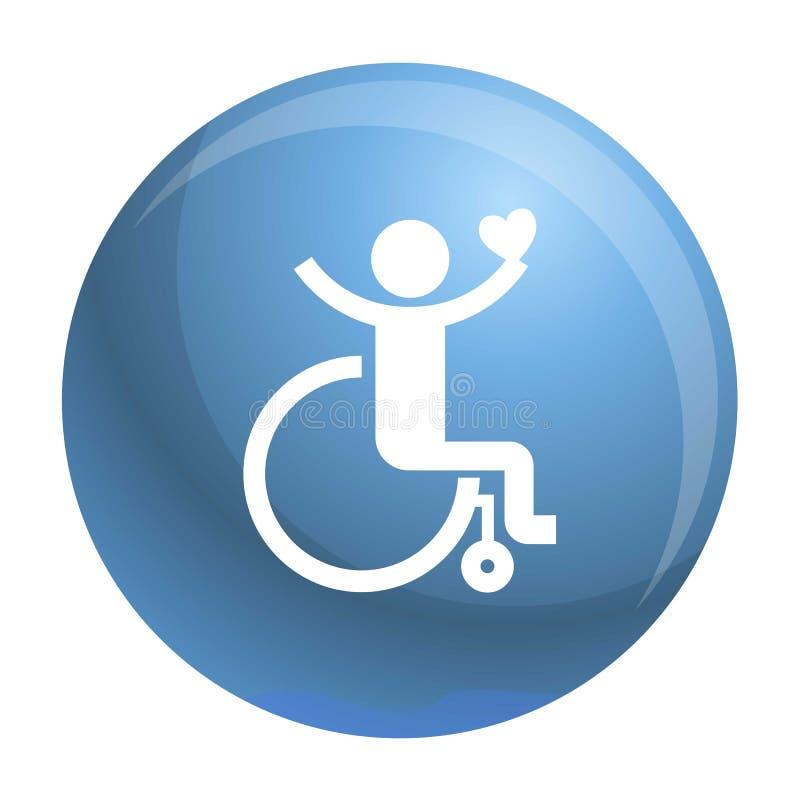 Icono adulto de la silla de ruedas, estilo simple stock de ilustración