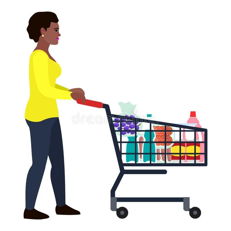 Icono afroamericano del carro de la tienda de la mujer, estilo plano ilustración del vector