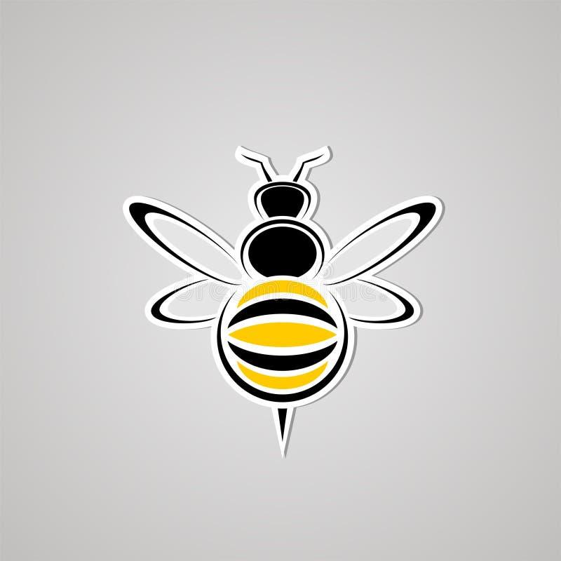 Icono agradable de la avispa ilustración del vector