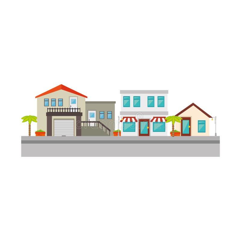 Icono agradable de la calle de la vecindad stock de ilustración