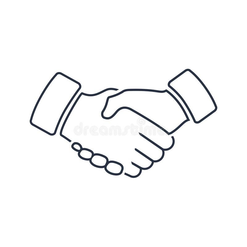 Icono agradable y del respecto del profesional del apretón de manos Lealtad o símbolo del pictograma, de la amistad o del trato d ilustración del vector