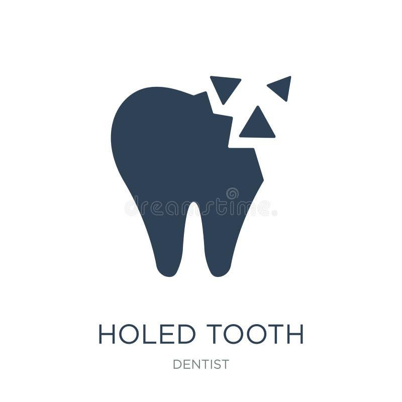 icono agujereado del diente en estilo de moda del diseño icono agujereado del diente aislado en el fondo blanco icono agujereado  stock de ilustración