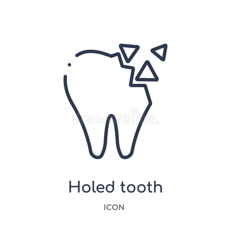 Icono agujereado linear del diente de la colección del esquema del dentista La línea fina agujereó el icono del diente aislado en libre illustration