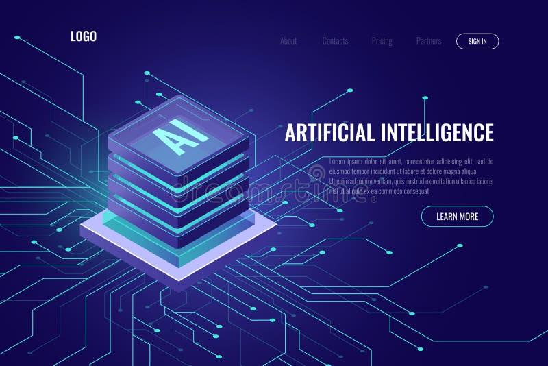 Icono AI, concepto computacional de la nube isométrica, minería de datos, isométrica, red neuronal, máquina de la inteligencia ar ilustración del vector