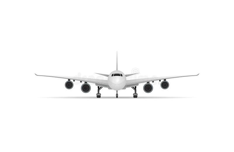 Icono aislado aeroplano del vector del jet de la vista delantera ilustración del vector