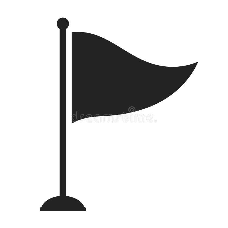 Icono aislado agujero de la bandera del golf stock de ilustración