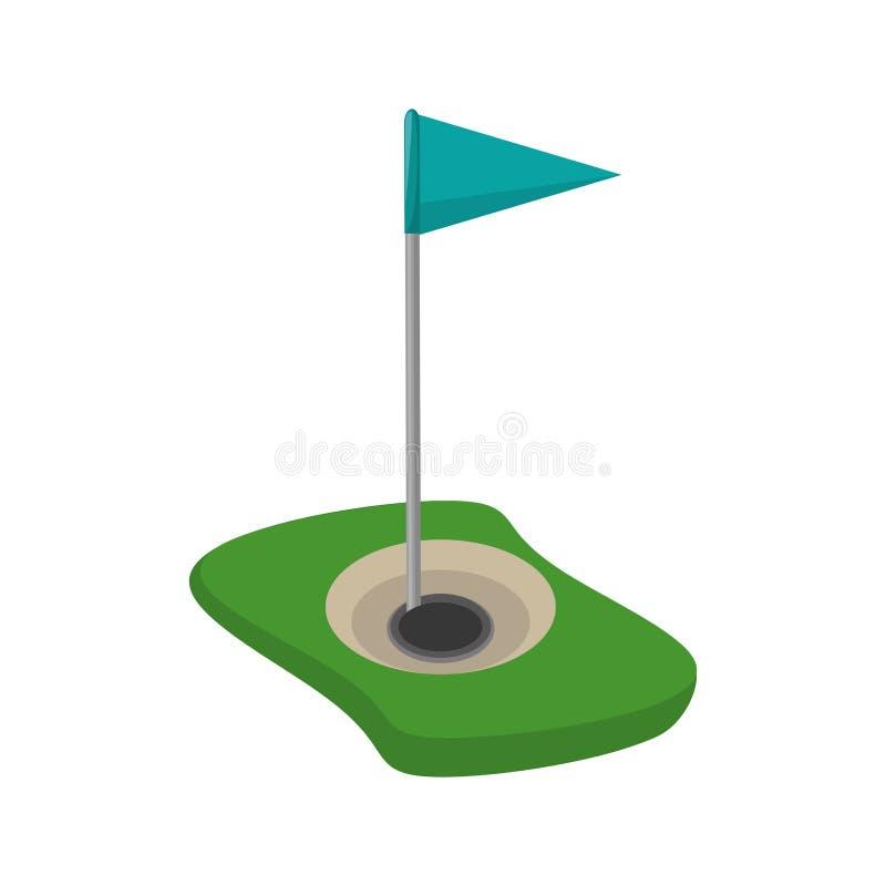 Icono aislado agujero de la bandera del golf ilustración del vector