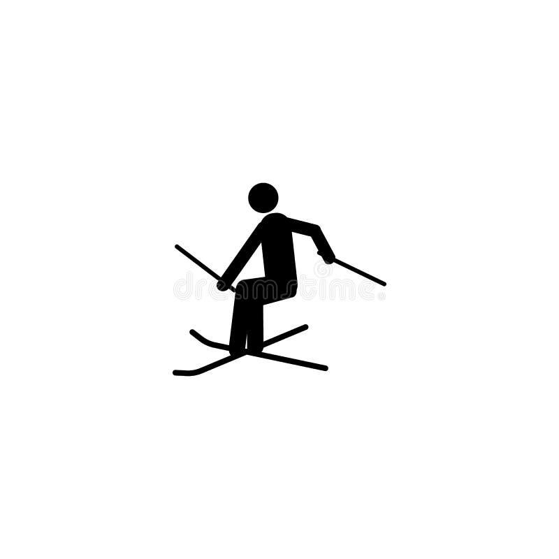 Icono aislado atleta de Ski Freestyle de la silueta Disciplina de los juegos del deporte de invierno Ejemplo blanco y negro del v stock de ilustración