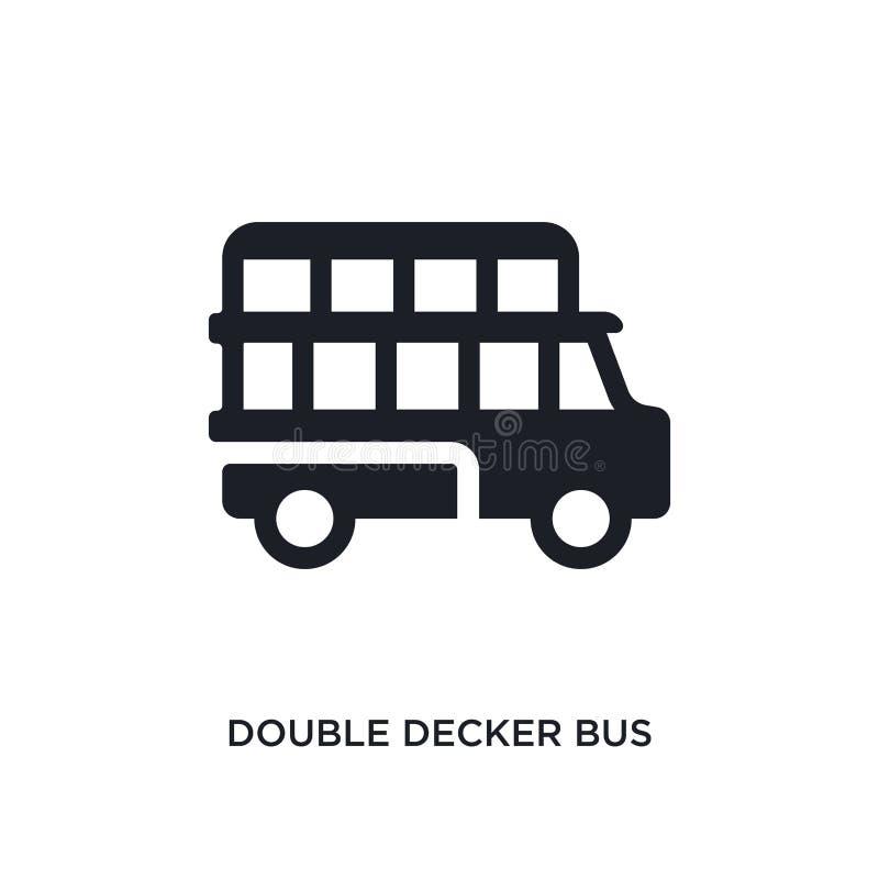 icono aislado autobús negro del vector del autobús de dos pisos ejemplo simple del elemento de iconos del vector del concepto del ilustración del vector