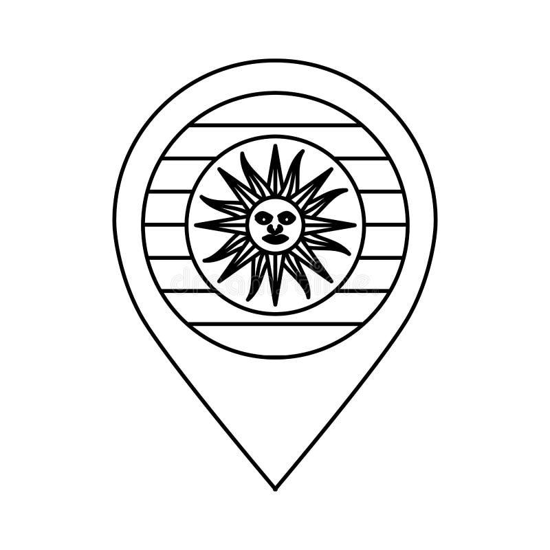 Icono aislado bandera de Uruguay ilustración del vector