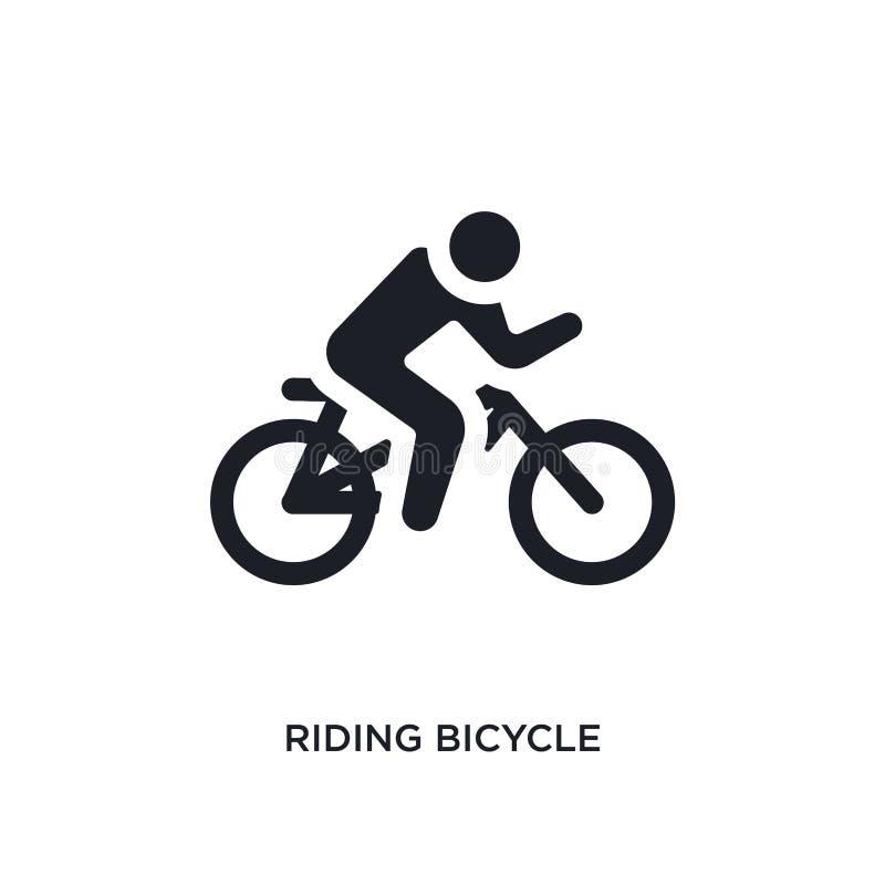 icono aislado bicicleta negro del vector que monta ejemplo simple del elemento de iconos del vector del concepto del gimnasio y d libre illustration