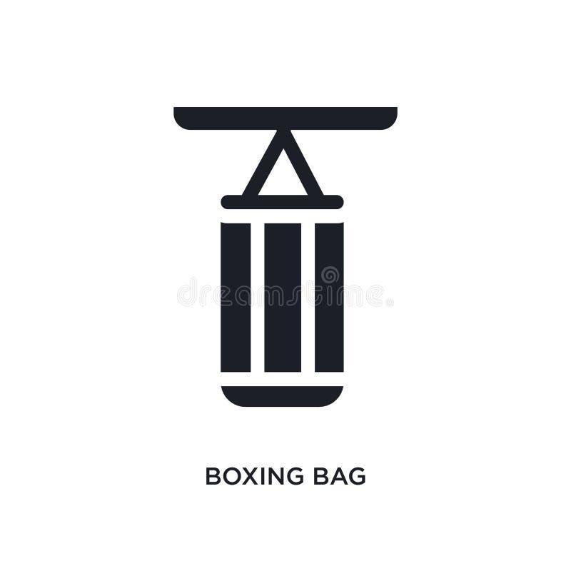 icono aislado bolso de encajonamiento negro del vector ejemplo simple del elemento de iconos del vector del concepto del gimnasio stock de ilustración