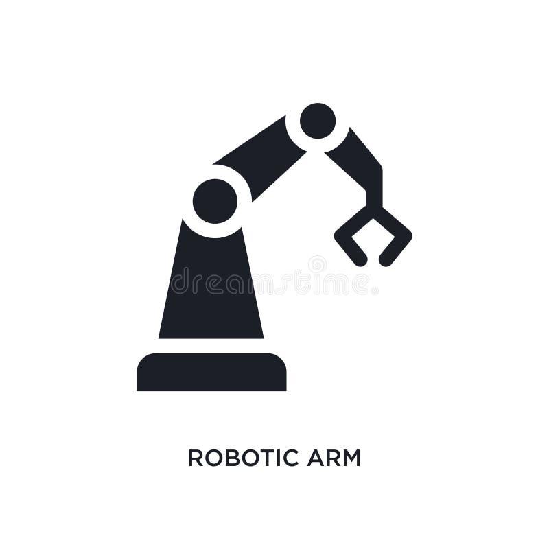 icono aislado brazo robótico negro del vector ejemplo simple del elemento de iconos del vector del concepto de la industria logot ilustración del vector