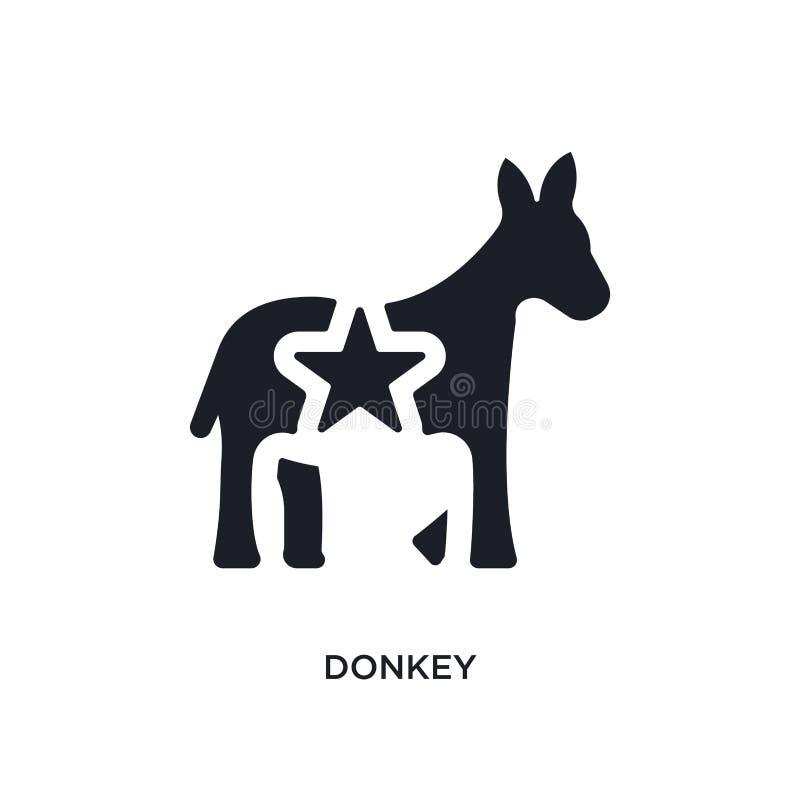 icono aislado burro negro del vector ejemplo simple del elemento de iconos del vector del concepto de Estados Unidos logotipo edi stock de ilustración