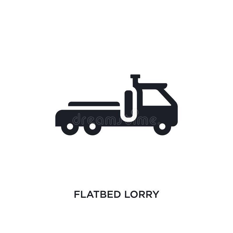 icono aislado camión plano negro del vector ejemplo simple del elemento de iconos del vector del concepto del transporte camión p libre illustration