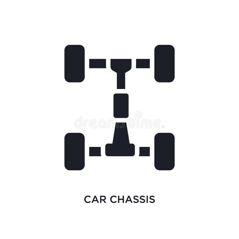 icono aislado chasis del coche ejemplo simple del elemento de iconos del concepto de las piezas del coche diseño editable del sím stock de ilustración