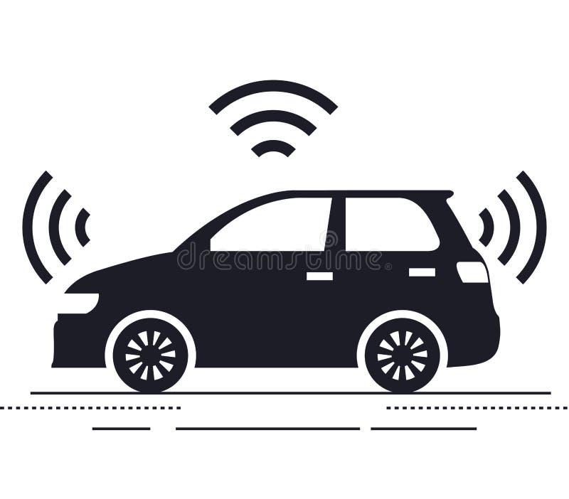 Icono aislado coche autónomo stock de ilustración