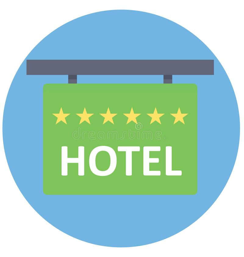 Icono aislado color del vector del letrero del hotel que puede ser modificado o corregir fácilmente ilustración del vector
