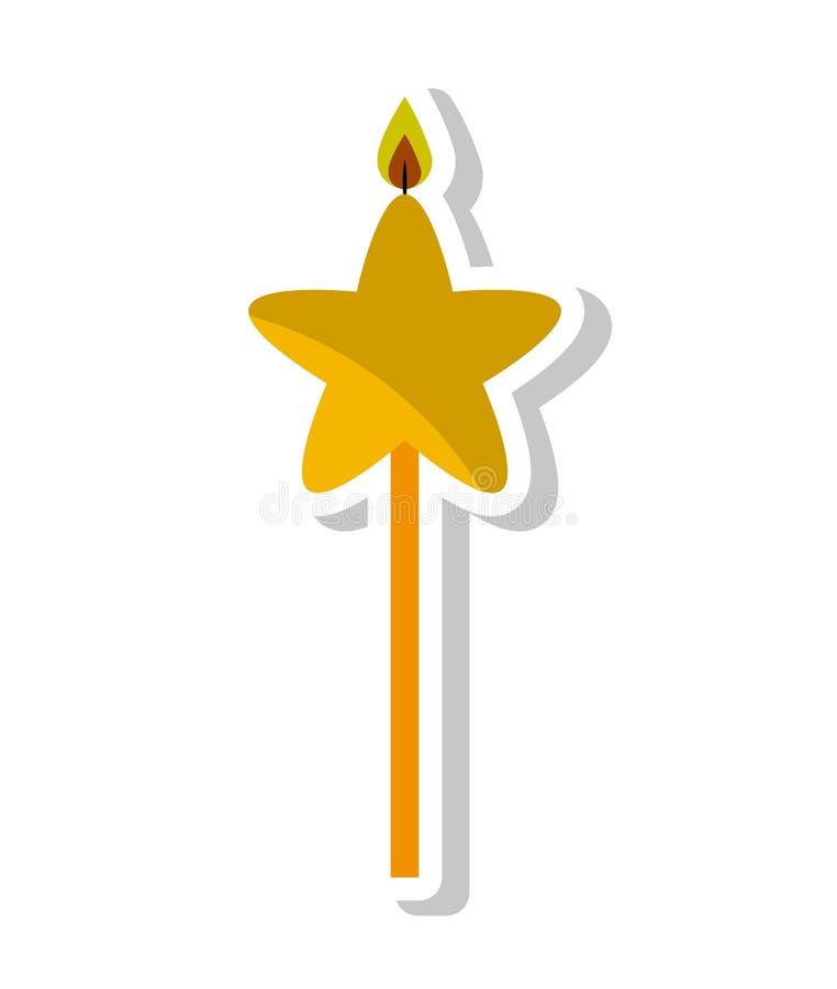 icono aislado cumpleaños de la estrella de la llama de vela ilustración del vector