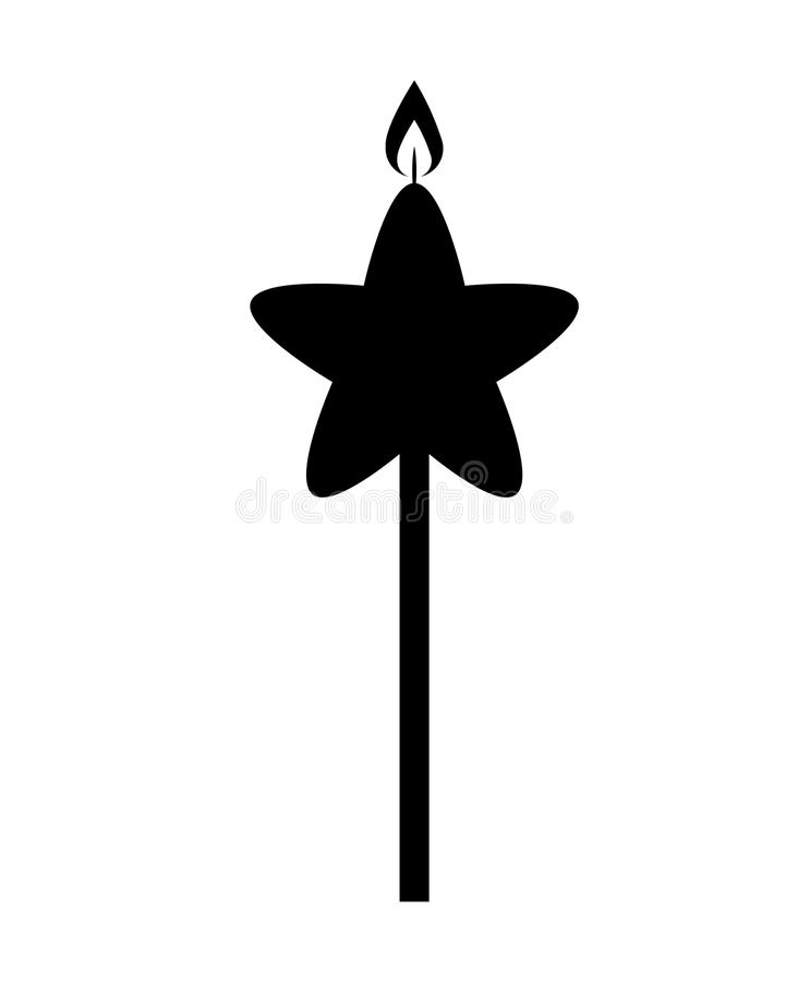 icono aislado cumpleaños de la estrella de la llama de vela libre illustration