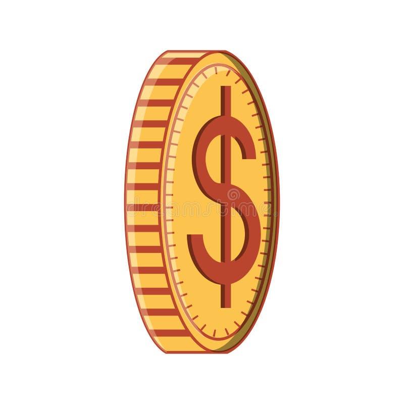 Icono aislado dólar de la moneda ilustración del vector