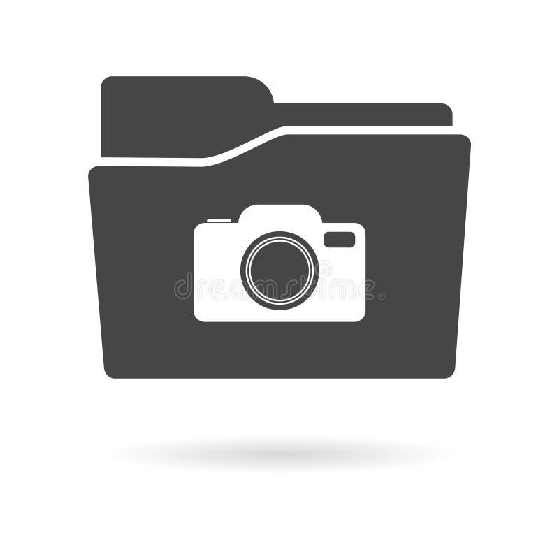 Icono aislado de la carpeta de archivos con una cámara ilustración del vector