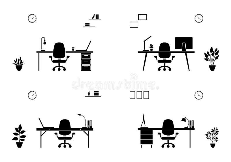 Icono aislado de la silueta de los muebles de oficinas Tabla blanco y negro, silla, ordenador portátil, esquema de escritorio stock de ilustración
