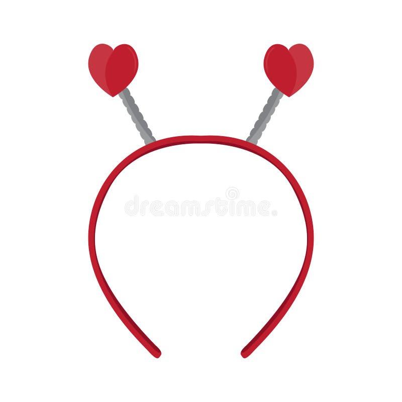 Icono aislado de la venda con los oídos de la forma del corazón ilustración del vector