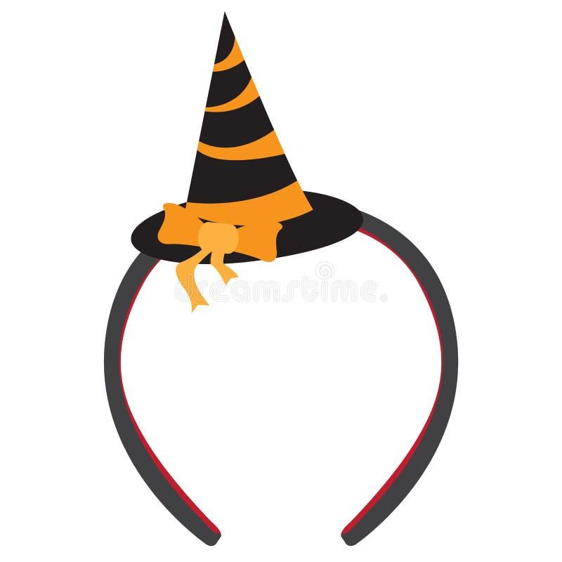 Icono aislado de la venda con un sombrero de la bruja stock de ilustración