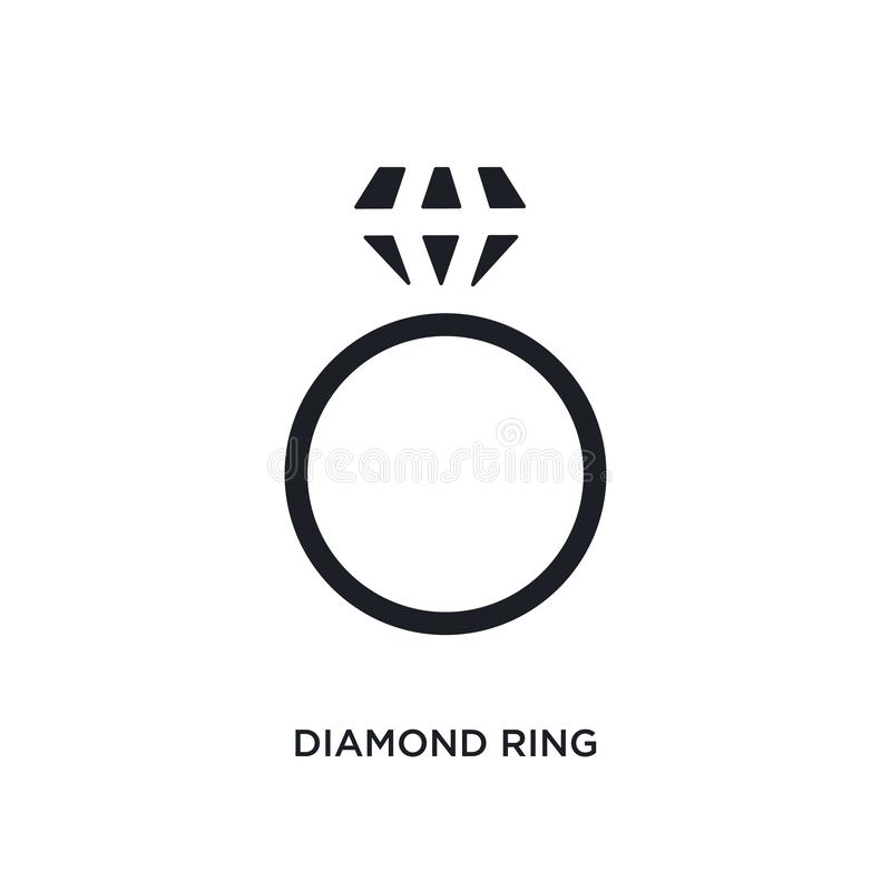 Icono aislado del anillo de diamante ejemplo simple del elemento de iconos del concepto de la ropa de la mujer símbolo editable d ilustración del vector