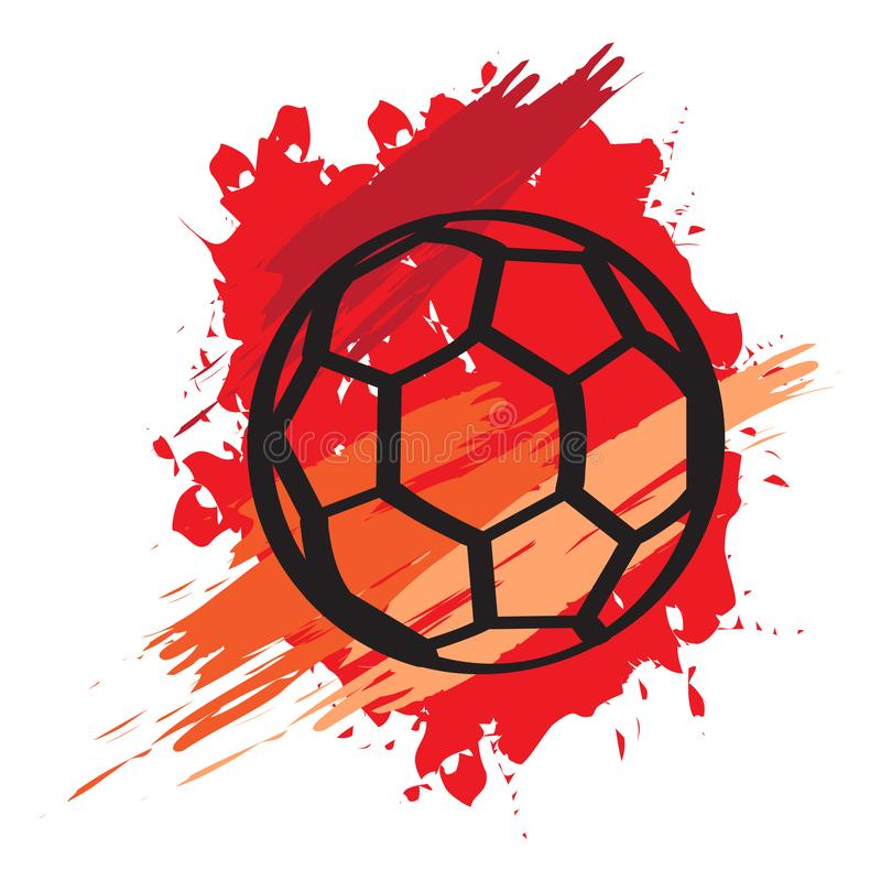 Icono aislado del balón de fútbol con una textura del grunge stock de ilustración
