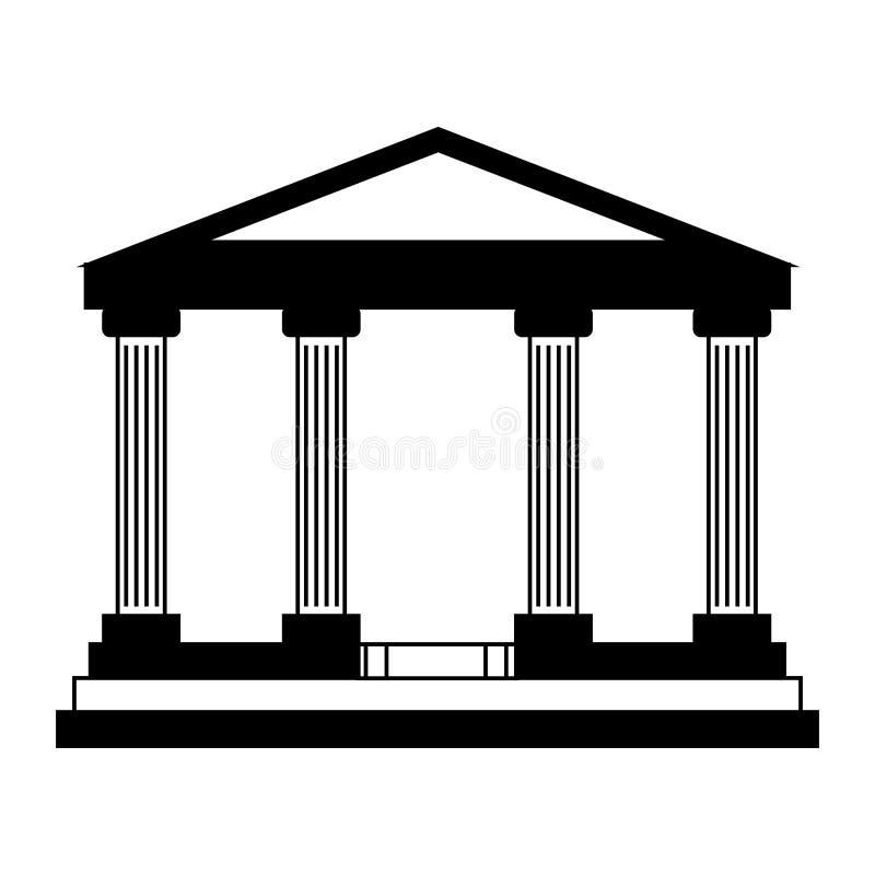 Icono aislado del edificio de banco ilustración del vector