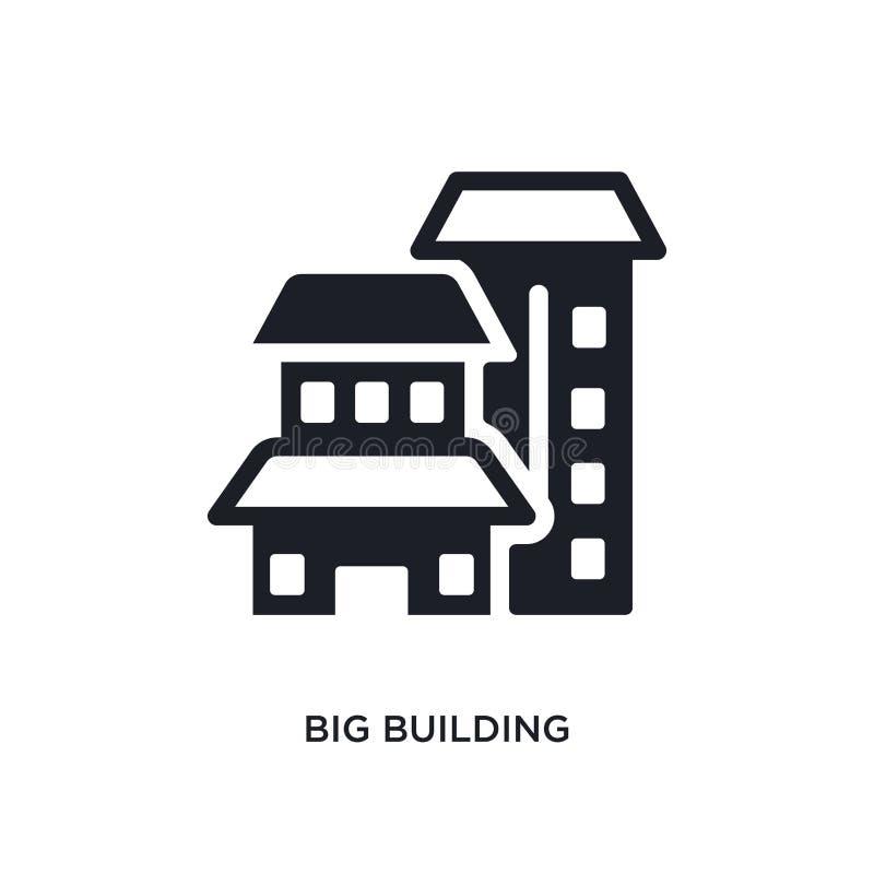 Icono aislado del edificio grande ejemplo simple del elemento de iconos del concepto de la construcción símbolo editable de la mu stock de ilustración
