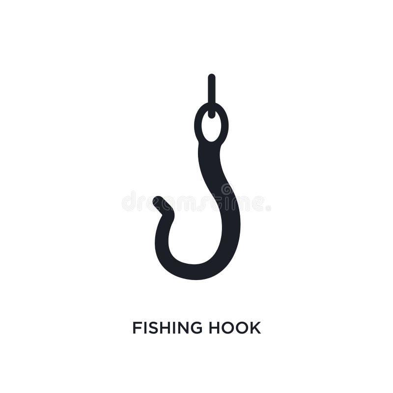 Icono aislado del gancho de pesca ejemplo simple del elemento de iconos náuticos del concepto diseño editable del símbolo de la m stock de ilustración